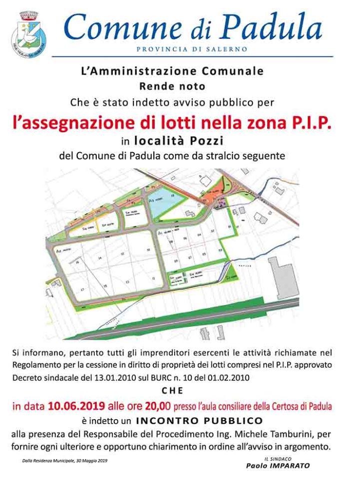 Incontro pubblico – assegnazione di lotti nella zona P.I.P. in località Pozzi