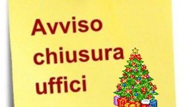 Chiusura pomeridiana uffici comunali 24 e 31 dicembre 2019 in occasione delle festività natalizie