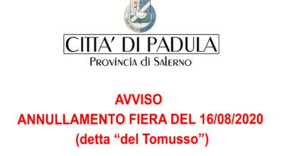 """AVVISO ANNULLAMENTO FIERA DEL 16/08/2020  (detta """"del Tomusso"""")"""
