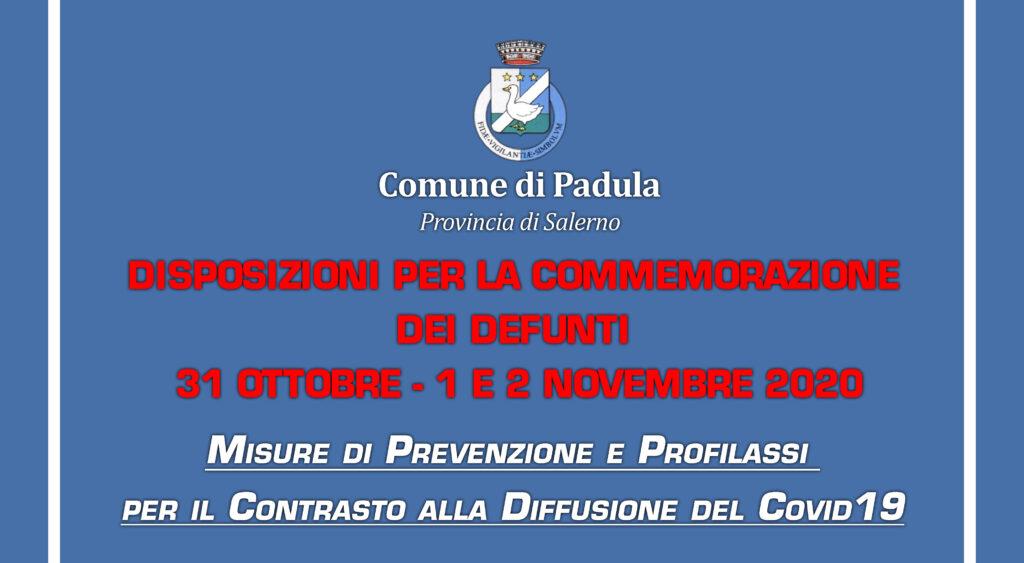 MODALITA' FRUIZIONE CIMITERO COMMEMORAZIONE DEI DEFUNTI – 31 OTTOBRE  – 1 e 2 NOVEMBRE 2020