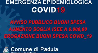 AVVISO PUBBLICO BUONI SPESA – AUMENTO SOGLIA ISEE A 6.000,00 EURO – EROGAZIONE BUONI SPESA COVID-19