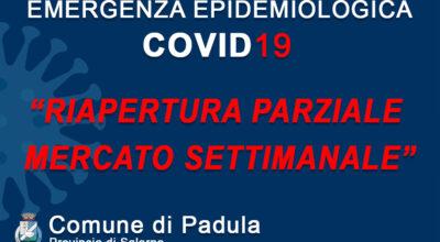 MISURE DI CONTRASTO E CONTENIMENTO DIFFUSIONE COVID19 – RIAPERTURA PARZIALE MERCATO SETTIMANALE