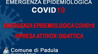 EMERGENZA EPIDEMIOLOGICA COVID19 – RIPRESA ATTIVITA' DIDATTICA